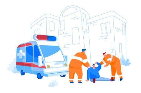 Rescuers Characters Wearing Orange Uniform Assisting First Aid to Injured Man Sitting on Ground on Street. Urgency Ambulance Help, Paramedic Occupation, Road Crash. Cartoon People Vector Illustration