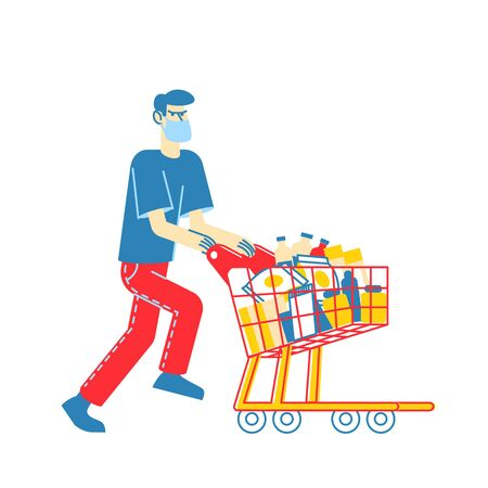 Man Wearing Protective Facial Mask Pushing Shopping Cart Full of Different Goods for Doomsday. Panic in Supermarket, Pandemic Chaos, Male Character Prepare for Apocalypse. Linear Vector Illustration