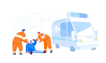 Urgency Ambulance Help, Paramedic Occupation, Road Crash. Rescuers Characters Wearing Orange Uniform Assisting First Aid to Injured Man Sitting on Ground on Street. Cartoon People Vector Illustration