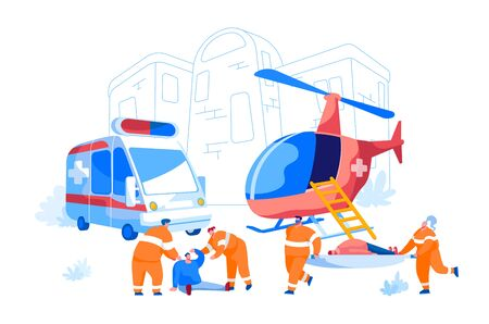 Cooperation between Air Rescue Service and Emergency Medical Service on Ground. Paramedic Characters Carry Stretcher with Patient to Ambulance Car, People Evacuation. Cartoon Vector Illustration