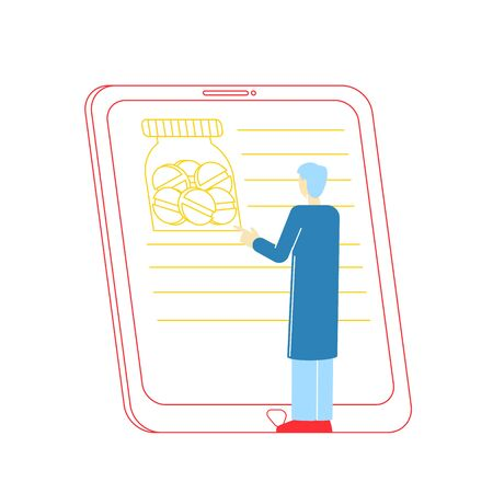 Online Medicine Concept. Male Character Reading Drug Description on Tablet Screen. Smart Medical Technology. Patients Use Computer and Mobile Phone, Internet Consultation. Linear Vector Illustration