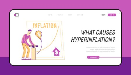 Economy Problem or Financial Crisis Landing Page Template. Male Character Inflate Balloon with Dollar Sign 向量圖像