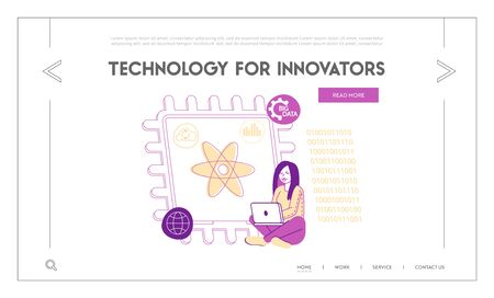 Quantum Computing Landing Page Template. Female Character with Pc Sitting at Huge Microchip with Atom Symbol