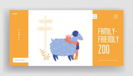 Communication with Animals Landing Page Template. Happy Boy Character Hugging Cute Sheep in Farm Zoo