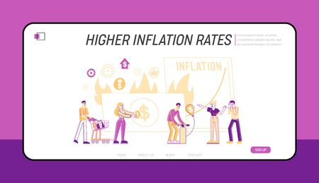 Inflation, Unstable Nominal Worth Landing Page Template. Tiny Characters Money Value Recession, Price Increase Process