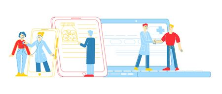 Distant Online Medicine Consultation, Smart Medical Technologies. Doctors Characters Communicate with Patients through Computer or Mobile Phone from Hospital Cabinet. Linear People Vector Illustration