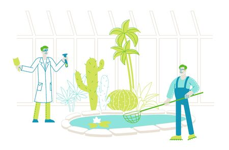 Botanist Scientist with Test Tube and Gardener Character with Net Learning Exotic Rare Plants Species in Greenhouse. Agriculture, Farming Industry, Botany Science. Linear People Vector Illustration Illusztráció