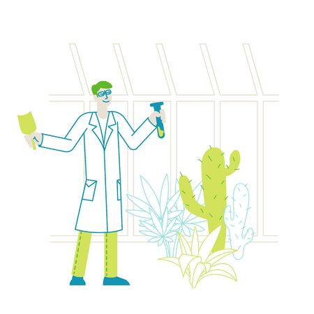 Botanist Scientist Character in Greenhouse with Shovel and Test Tube Learning Exotic and Rare Plants Species. Agriculture, Farming Industry, Botany Science Investigations. Linear Vector Illustration