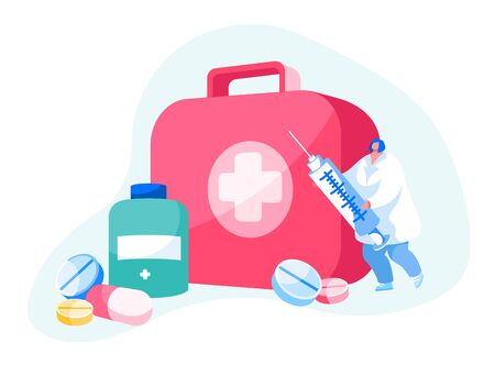 Doctor or Nurse Character in White Robe Stand with Syringe at Huge Box with Medical Tools. Clinic, Hospital Healthcare Staff at Work. Online Medicine Occupation Profession. Cartoon Vector Illustration
