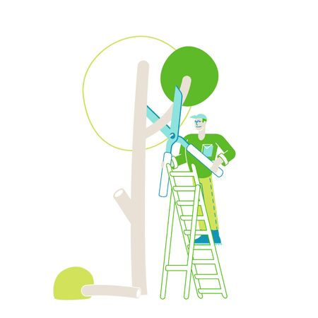 Worker Male Character Stand on Ladder Trimming Tree in Garden. Man Doing Gardener Works Prune and Cut Branches with Scissors. Farmer Professional Occupation, Yardwork. Linear Vector Illustration