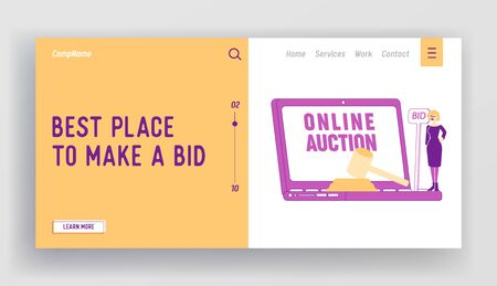 Online Auction Business Landing Page Template. Woman with Wooden Hammer Buy Assets in Internet Using Online Platform, Female Character Holding Bid Banner at Huge Laptop. Linear Vector Illustration