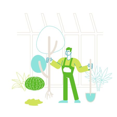 Farmer Man Character in Overalls Working in Garden Digging Soil and Care of Plants in Greenhouse. Gardener Planting Tree to Ground in Warm House, Active Hobby or Work. Linear Vector Illustration