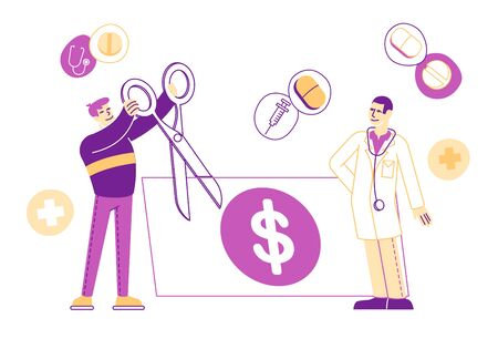 Medical Price, Medicine Services and Health Care Cost and Expenses Concept. Male Patient Character Cut with Scissors Huge Dollar Bill near of Doctor in White Robe. Linear People Vector Illustration Illustration