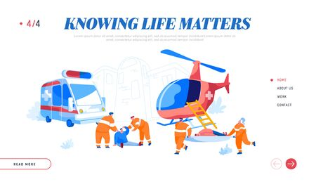 Air Rescue Service and Ground Medical Emergency Help Landing Page Template. Paramedic Characters Carry Stretcher with Diseased Patient to Ambulance Car, People Evacuation. Cartoon Vector Illustration