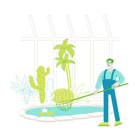 Gardener Worker or Botanist Scientist Character Catch Floating Lotus Flowers with Butterfly Net at Pond in Greenhouse Area with Different Exotic and Rare Plants Species. Linear Vector Illustration