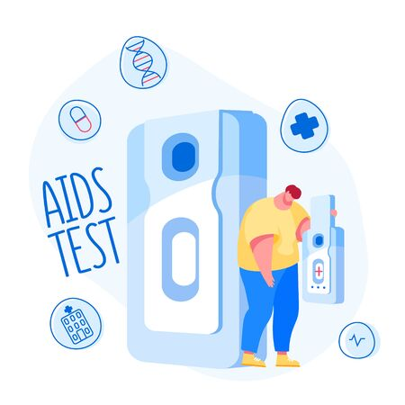 Sad Tiny Male Character Carry Huge Express Test for Detection Aids or Hiv Disease. Infected Man Holding Positive Result for Acquired Immune Deficiency Syndrome. Cartoon People Vector Illustration