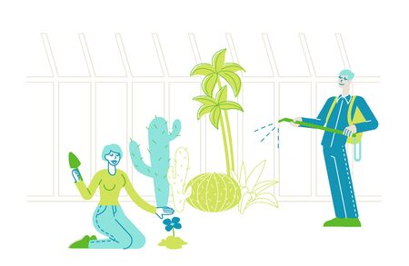 Characters Grow, Planting and Caring of Plants in Garden Greenhouse. People Watering Trees and Flowers, Dig Soil, Spraying Fertilizers. Agriculture, Farming Industry, Hobby. Linear Vector Illustration