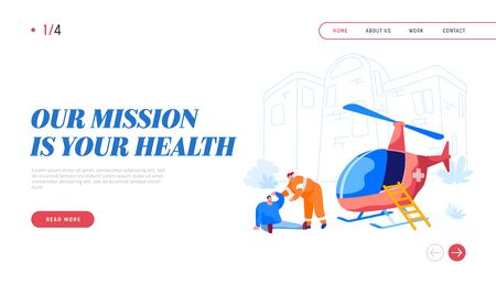 Transport for Medical Personnel Landing Page Template. Rescuer Character Help Injured Man on Street. Emergency Helicopter Ambulance First Aid Transport and Hospital. Cartoon People Vector Illustration  イラスト・ベクター素材