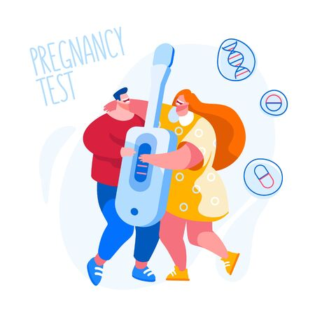 Tiny Male and Female Characters Holding Huge Express Pregnancy Test with Positive Result. Excited Man and Woman Happy to be Parents. Maternity, Fatherhood Concept. Cartoon People Vector Illustration Vectores
