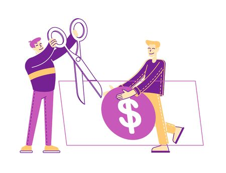 Male Characters Cutting with Scissors Huge Dollar Bill. Medical Price, Medicine Services and Health Care Cost and Expenses Concept. Expensive Price for Medical Stuff. Linear People Vector Illustration Illustration