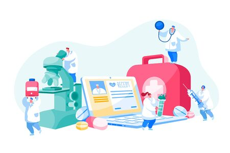 Distant Online Medicine Consultation, Smart Medical Technologies. Doctors Characters at Huge Equipment Microscope, Laptop and Toolbox with Pills, Flask and Syringe. Cartoon People Vector Illustration