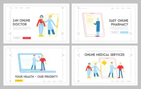 Distant Online Medicine Consultation, Smart Medical Technology Landing Page Template Set. Doctors Characters Communicate with Patients through Gadgets from Hospital. Linear People Vector Illustration