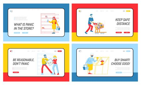 Doomsday Panic and Coronavirus Pandemic Chaos Landing Page Template Set. Characters Crazily Buying Goods from Supermarket Shelves, Fighting for Toilet Paper, Covid19. Linear People Vector Illustration