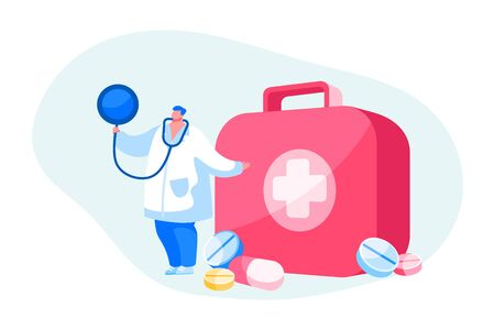 Doctor or Nurse Character in Robe with Stethoscope Stand at Medical Toolbox with Cross Help Diseased Patient. Clinic, Hospital Healthcare Staff at Work, Online Medicine. Cartoon Vector Illustration