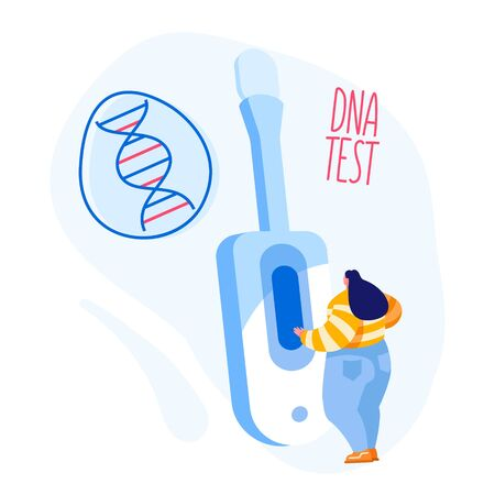 Tiny Female Character Stand at Huge Device for Sampling Express Dna Test to Determine Presence of Contagious Disease, Coronavirus Infection, Paternity. Genetic Technology. Cartoon Vector Illustration Иллюстрация