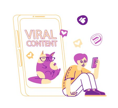 Male Character with Hypnotized Eyes Watching Video on Mobile with Cute Funny Cat on Screen, Emoji and Heart Icons around. Internet Entertainment, Online Viral Content. Linear Vector Illustration Vektorové ilustrace