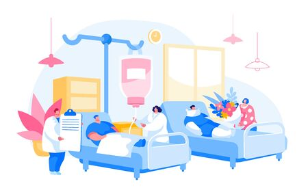 Doctor and Nurse Characters Visiting Patient in Chamber. Medicine Health Care, Medical Staff in Hospital Consultation, Diagnosis Treatment. Woman with Flowers. Cartoon People Vector Illustration