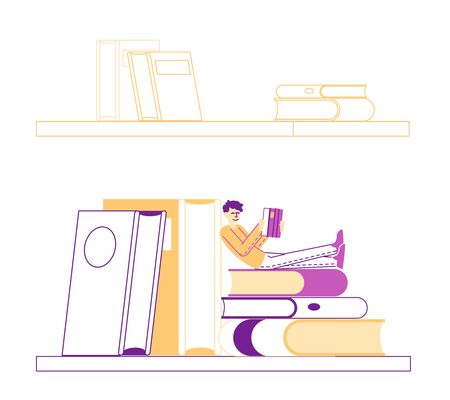Young Man Education, Gaining Knowledge Concept. Tiny Student Character Sitting on Bookshelf with Huge Books Learning Homework or Prepare to Exams in University or College. Linear Vector Illustration
