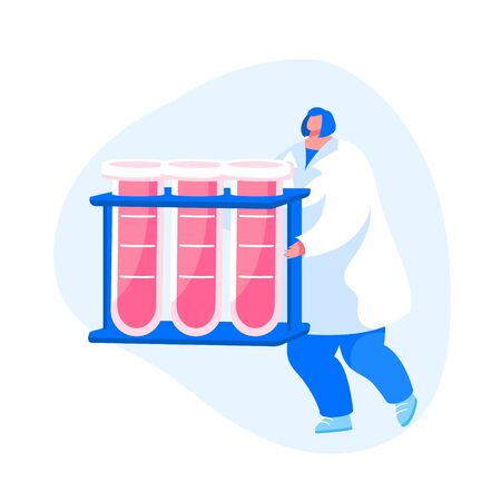Female Nurse Character Carrying Test Tubes with Lifeblood, Donor Donated Blood in Medical Laboratory. Healthcare, Charity. Transfusion, Donation Lab, Disease Check Up. Cartoon Vector Illustration