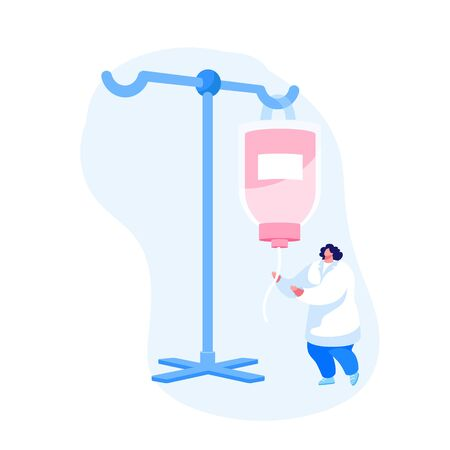 Nurse Female Character Set Up Dropper with Medicine during Surgery Operation. Medic in White Uniform Working in Hispital with Equipment. Emergency Help, Detoxification. Cartoon Vector Illustration Vector Illustration