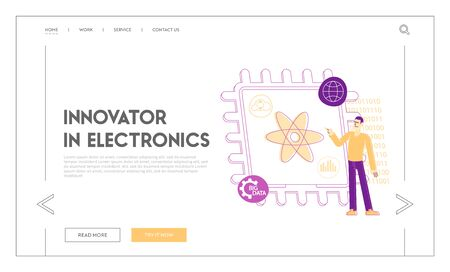Ai Technology Symbols. Quantum Computing or Supercomputing Engineering Landing Page Template. Computer Engineer Male Character Pointing on Atom Symbol at Huge Microchip. Linear Vector Illustration