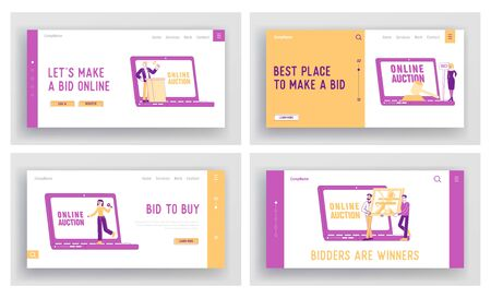 Online Auction Landing Page Template Set. People Buying Assets in Internet. Male Female Characters around of Huge Laptop and Gavel Holding and Rising Bid Boards. Linear People Vector Illustration