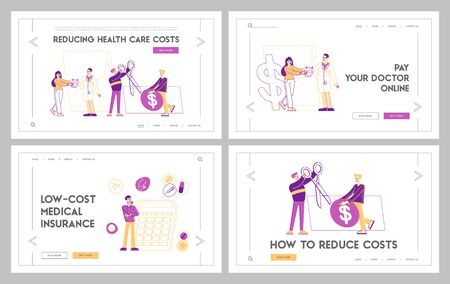 Health Care Cost, Medicine Price, Pharmacy Accessibility Landing Page Template Set. Tiny Characters around of Huge Dollar Sign, Drugs and Medical Stuff. People Buy Remedy. Linear Vector Illustration