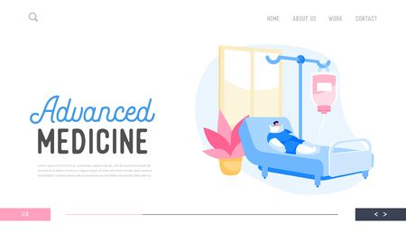 Hospital Traumatology Department Landing Page Template. Clinic Chamber with Bandaged Patient Character on Bed with Broken Arms and Legs after Car Accident Applying Dropper. Cartoon Vector Illustration