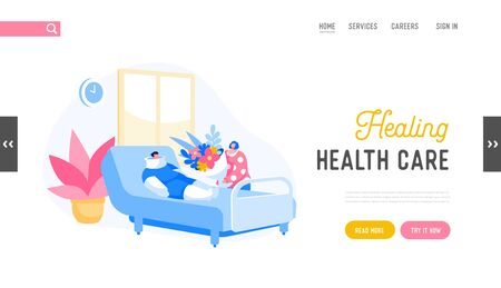 Health Care in Clinic Department Landing Page Template. Bandaged Sick Male Character Lying in Hospital Chamber, Woman with Flowers Bouquet Visiting Disabled Patient. Cartoon People Vector Illustration Çizim