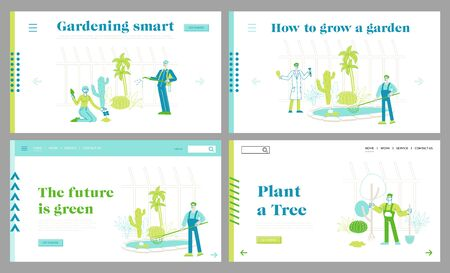 Gardening People Grow and Care of Plants in Garden Greenhouse Landing Page Template Set. Gardeners and Scientists Characters Watering, Fertilizing, Planting, Raking Trees. Linear Vector Illustration