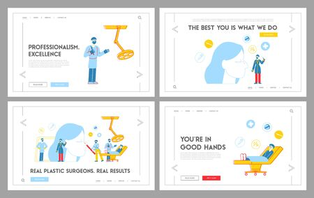 Rhinoplasty Correction Procedure, Landing Page Template Set. Plastic Surgeon Characters Correcting Form of Nose, Put Dotted Line on Skin. Surgical Nasal Improvement. Linear People Vector Illustration Vector Illustration