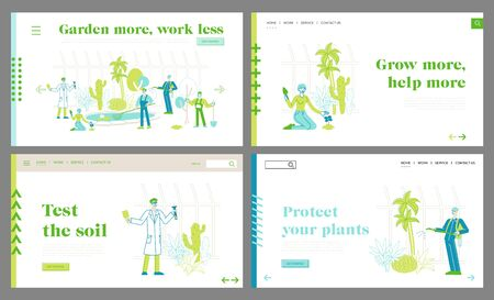 Agriculture, Farming Industry, Botany Science Landing Page Template Set. Botanist with Test Tube and Gardener Characters Learn Exotic Rare Plants in Greenhouse. Linear People Vector Illustration