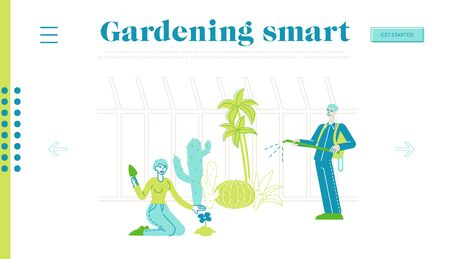 Characters Grow, Planting and Caring of Plants in Garden Greenhouse Landing Page Template. People Watering Trees and Flowers, Dig Soil, Spraying Fertilizers. Farming, Hobby. Linear Vector Illustration