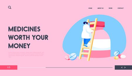 Pharmacy Drugstore Worker, Remedy Production Business Landing Page Template. Tiny Pharmacist Female Character Climbing on Huge Medicine Bottle with Drug Pills and Tablets. Cartoon Vector Illustration 向量圖像