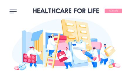 Pharmacy, Clinic, Hospital Landing Page Template. Pharmacist Doctor Characters with Huge Pill Boxes and Medical Drugs. Healthcare Staff at Work, Medicine Occupation. Cartoon People Vector Illustration