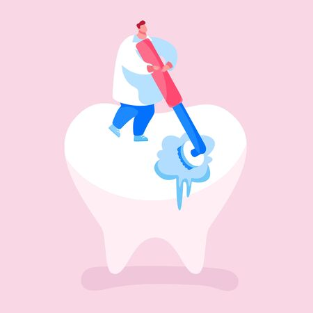 Tiny Dentist Doctor Character Cleaning or Polishing of Huge Tooth with Rolling Brush. Stomatology Clinic Care Service, Dentistry Occupation, Caries Prevention or Treatment. Cartoon Vector Illustration Vettoriali
