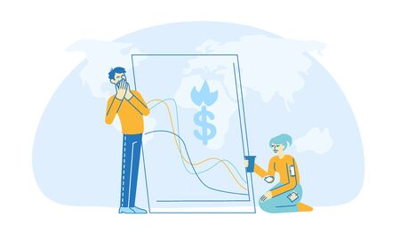 Financial Crisis. Shocked Businesspeople Characters Feeling Failure and Frustrated with Market Crash. Stressed Business Man Close Mouth Trying not to Cry, Woman Beg. Linear People Vector Illustration Illustration