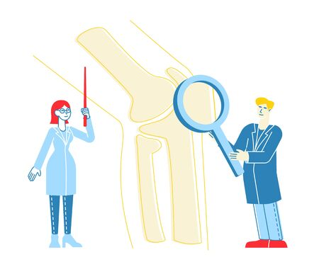 Orthopedics Healthcare Concept. Doctor Orthopedist Character Pointing on Huge Leg Bone, Nurse with Magnifying Glass. Colleagues Specialist Medical Hospital Concilium. Linear People Vector Illustration Zdjęcie Seryjne - 147667019