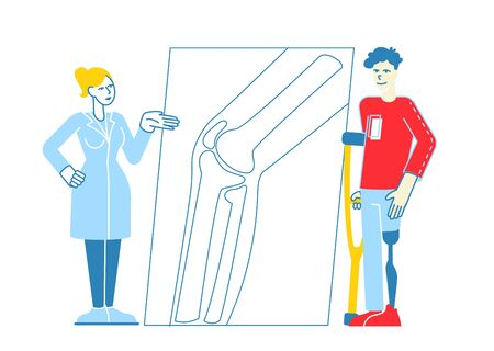 Invalid Handicapped Man Character Standing on Crutches with Prosthesis on Leg Visiting Orthopedy Clinic or Hospital Communicate with Doctor Orthopedist, Healthcare. Linear People Vector Illustration
