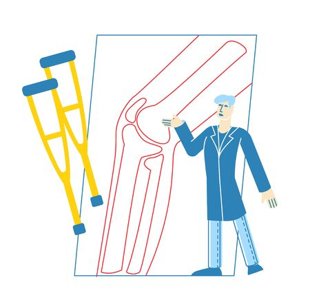 Tiny Doctor Character Orthopedist in Robe Uniform Pointing on Huge X-ray Picture with Knee Joint Bones. Healthcare, Hospital, Physician Specialist in Clinic, Appointment. Linear Vector Illustration
